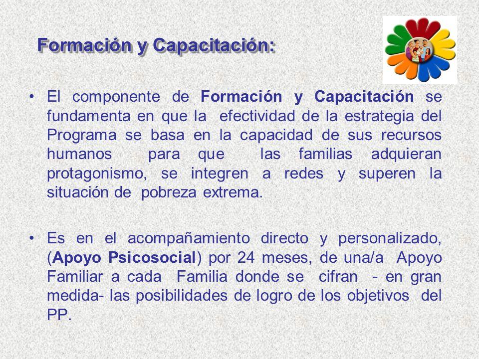 Formación y Capacitación: El componente de Formación y Capacitación se fundamenta en que la efectividad de la estrategia del Programa se basa en la ca