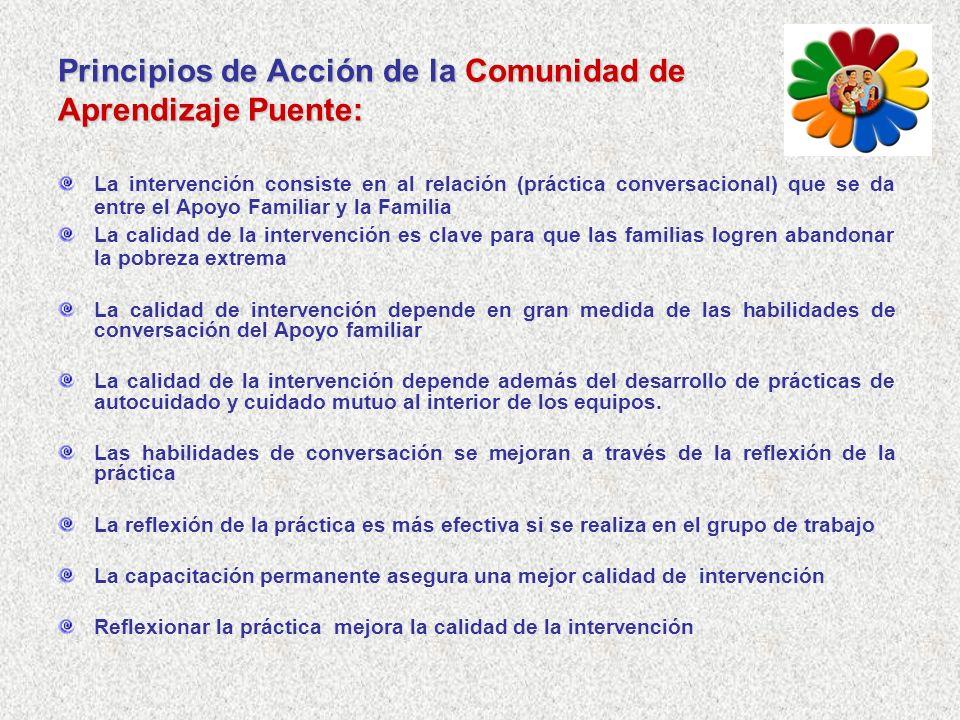 Principios de Acción de la Comunidad de Aprendizaje Puente: La intervención consiste en al relación (práctica conversacional) que se da entre el Apoyo