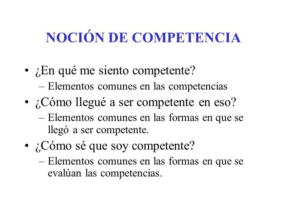 NOCIÓN DE COMPETENCIA ¿En qué me siento competente? ¿Cómo llegué a ser competente en eso? ¿Cómo sé que soy competente?