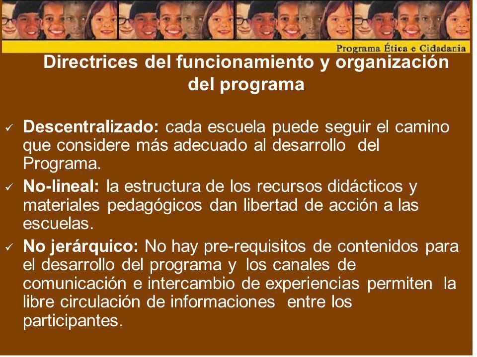 Directrices del funcionamiento y organización del programa Descentralizado: cada escuela puede seguir el camino que considere más adecuado al desarrol