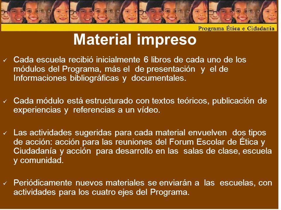 Material impreso Cada escuela recibió inicialmente 6 libros de cada uno de los módulos del Programa, más el de presentación y el de Informaciones bibl