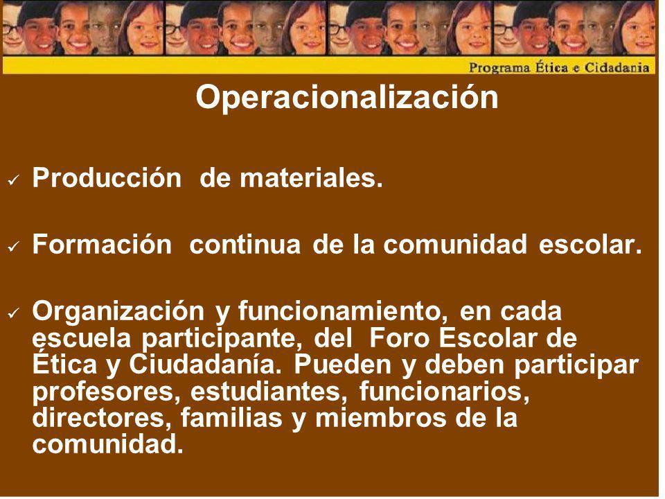 Operacionalización Producción de materiales. Formación continua de la comunidad escolar. Organización y funcionamiento, en cada escuela participante,