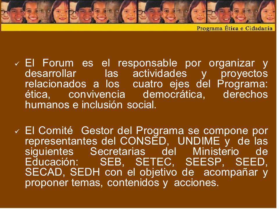 El Forum es el responsable por organizar y desarrollar las actividades y proyectos relacionados a los cuatro ejes del Programa: ética, convivencia dem