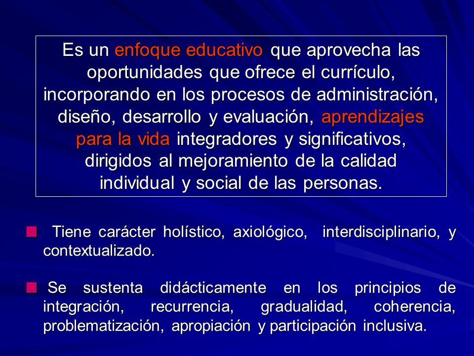 - Apropiación de valores: profundo sentido ético de la educación. - Contribución al desarrollo sostenible, los ideales democráticos y la convivencia s