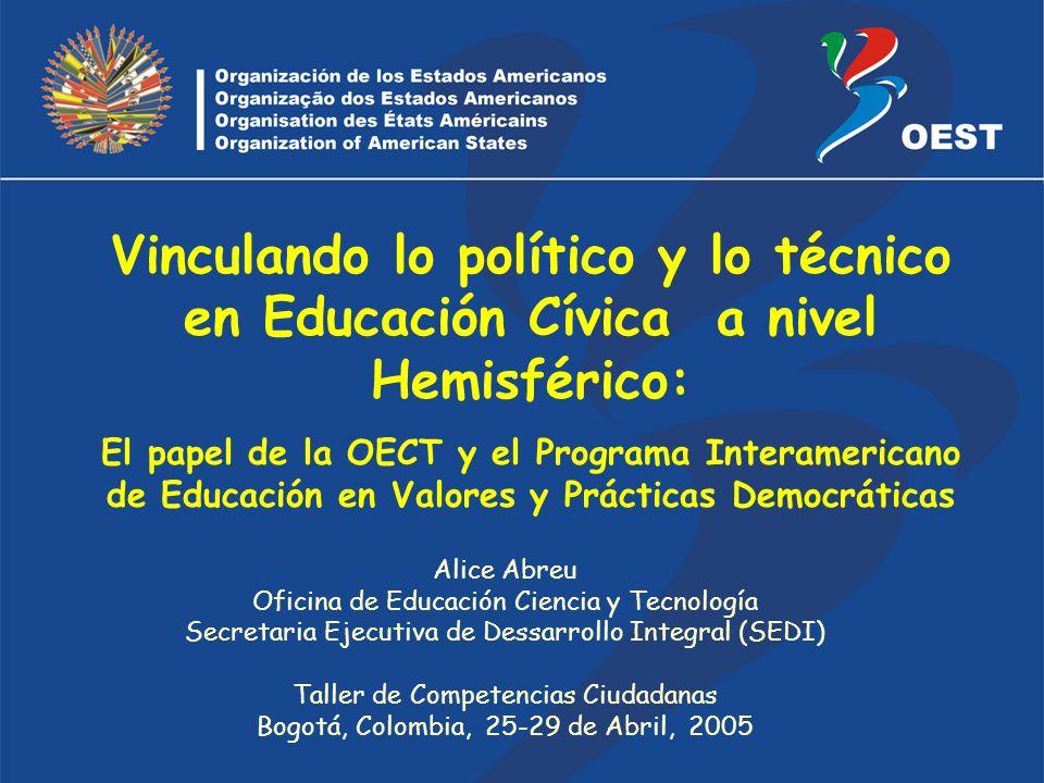 Vinculando lo político y lo técnico en Educación Cívica a nivel Hemisférico: El papel de la OECT y el Programa Interamericano de Educación en Valores y Prácticas Democráticas Alice Abreu Oficina de Educación Ciencia y Tecnología Secretaria Ejecutiva de Dessarrollo Integral (SEDI) Taller de Competencias Ciudadanas Bogotá, Colombia, 25-29 de Abril, 2005