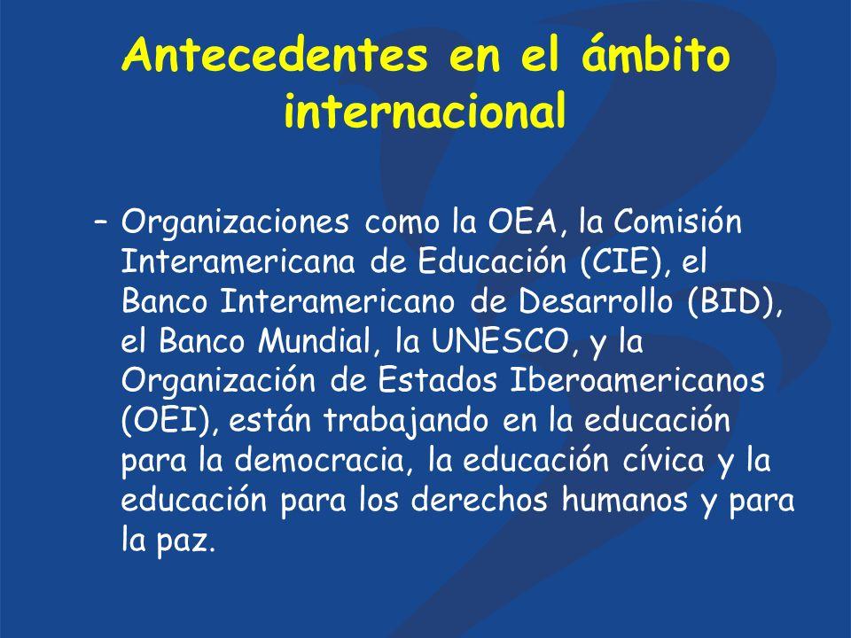 Antecedentes en el ámbito internacional –Organizaciones como la OEA, la Comisión Interamericana de Educación (CIE), el Banco Interamericano de Desarrollo (BID), el Banco Mundial, la UNESCO, y la Organización de Estados Iberoamericanos (OEI), están trabajando en la educación para la democracia, la educación cívica y la educación para los derechos humanos y para la paz.