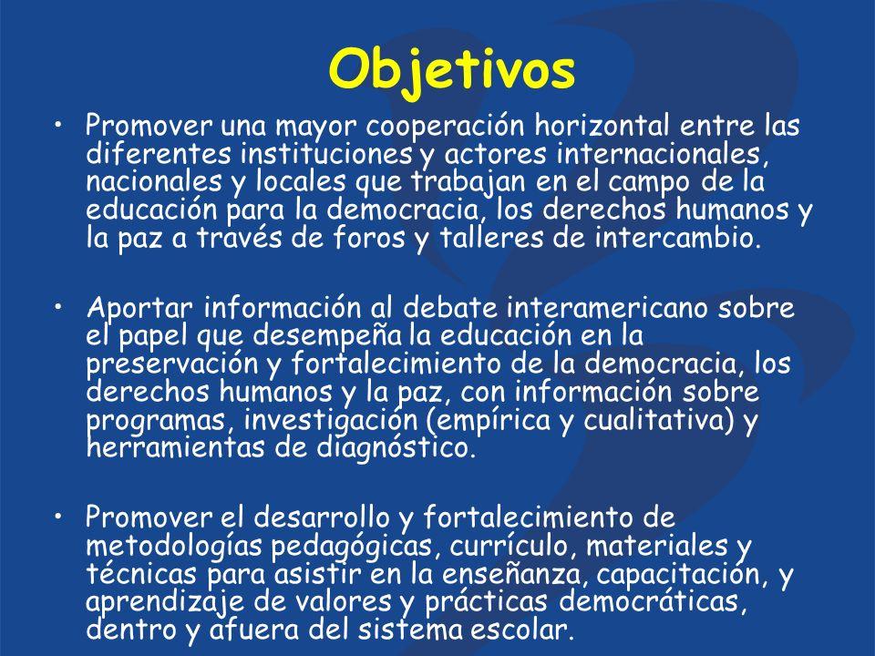 Objetivos Promover una mayor cooperación horizontal entre las diferentes instituciones y actores internacionales, nacionales y locales que trabajan en el campo de la educación para la democracia, los derechos humanos y la paz a través de foros y talleres de intercambio.