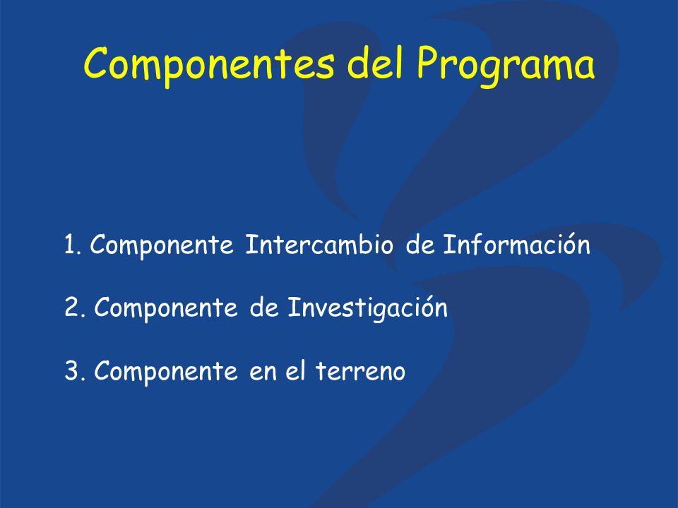 1. Componente Intercambio de Información 2. Componente de Investigación 3. Componente en el terreno Componentes del Programa