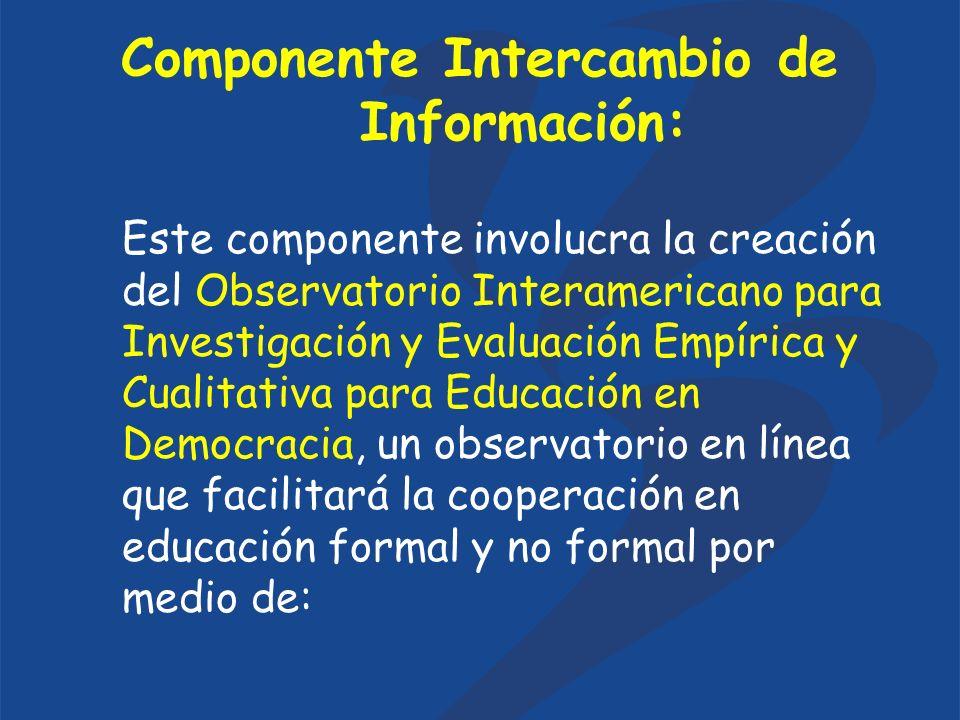 Componente Intercambio de Información: Este componente involucra la creación del Observatorio Interamericano para Investigación y Evaluación Empírica y Cualitativa para Educación en Democracia, un observatorio en línea que facilitará la cooperación en educación formal y no formal por medio de: