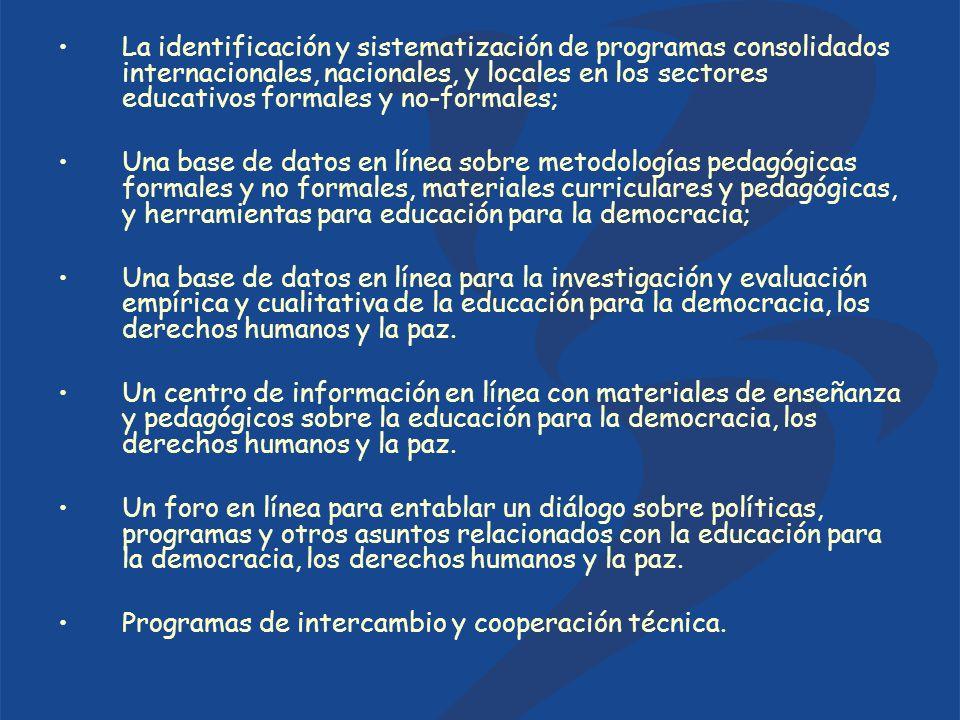 La identificación y sistematización de programas consolidados internacionales, nacionales, y locales en los sectores educativos formales y no-formales; Una base de datos en línea sobre metodologías pedagógicas formales y no formales, materiales curriculares y pedagógicas, y herramientas para educación para la democracia; Una base de datos en línea para la investigación y evaluación empírica y cualitativa de la educación para la democracia, los derechos humanos y la paz.