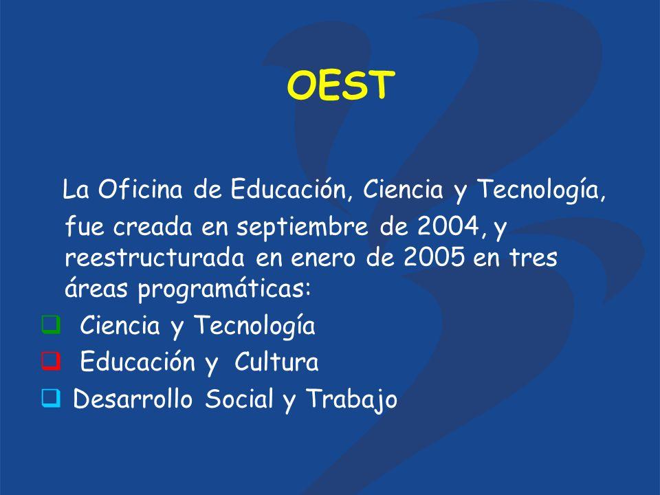OEST La Oficina de Educación, Ciencia y Tecnología, fue creada en septiembre de 2004, y reestructurada en enero de 2005 en tres áreas programáticas: Ciencia y Tecnología Educación y Cultura Desarrollo Social y Trabajo