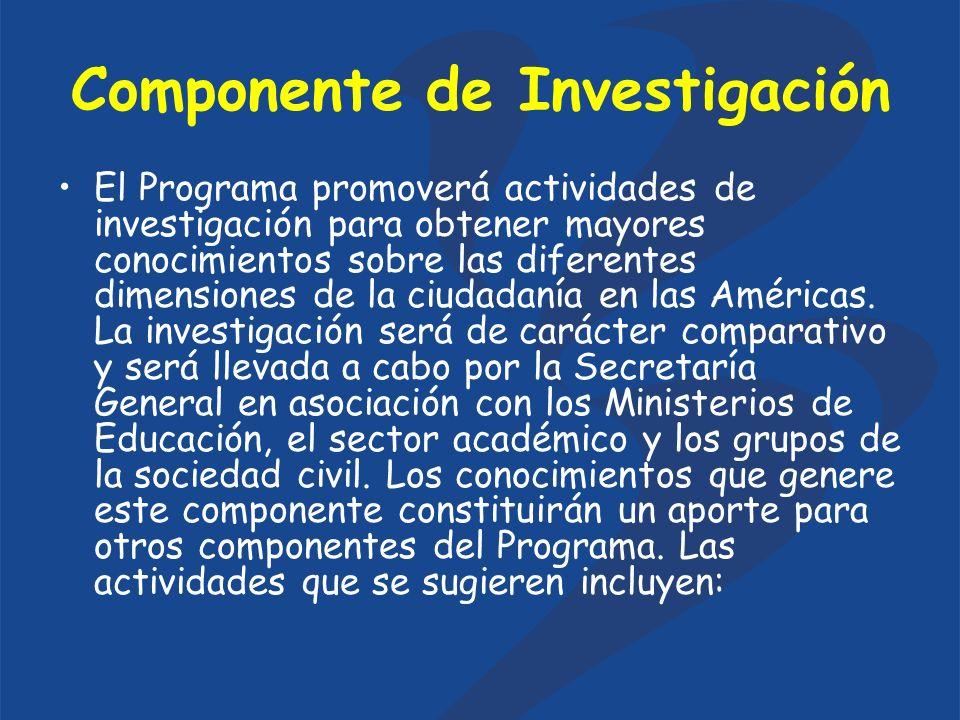 Componente de Investigación El Programa promoverá actividades de investigación para obtener mayores conocimientos sobre las diferentes dimensiones de la ciudadanía en las Américas.