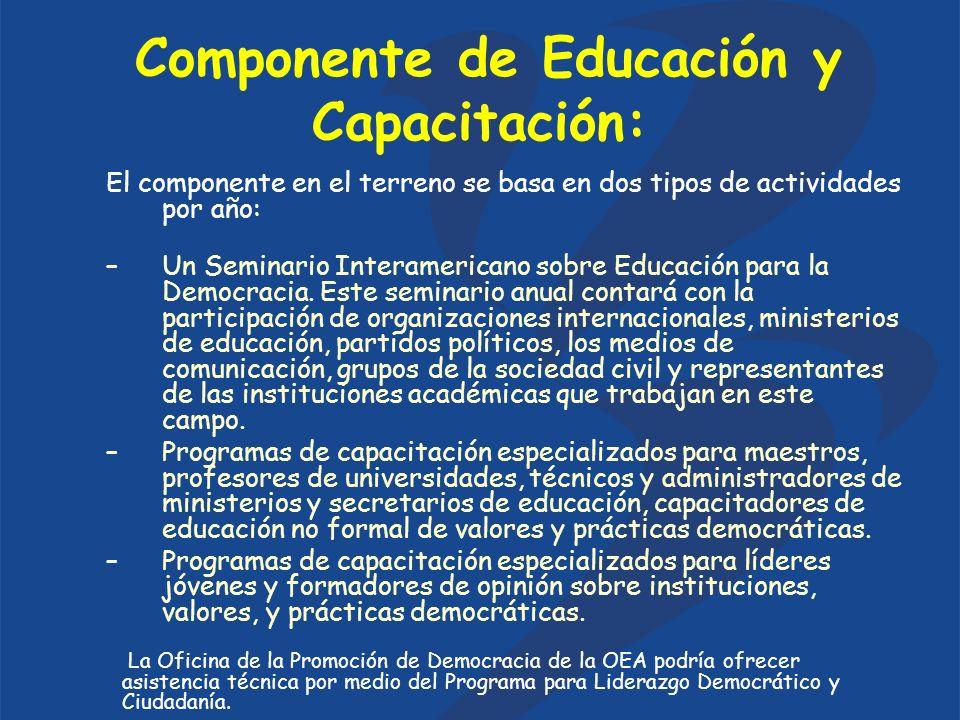 Componente de Educación y Capacitación: El componente en el terreno se basa en dos tipos de actividades por año: –Un Seminario Interamericano sobre Educación para la Democracia.