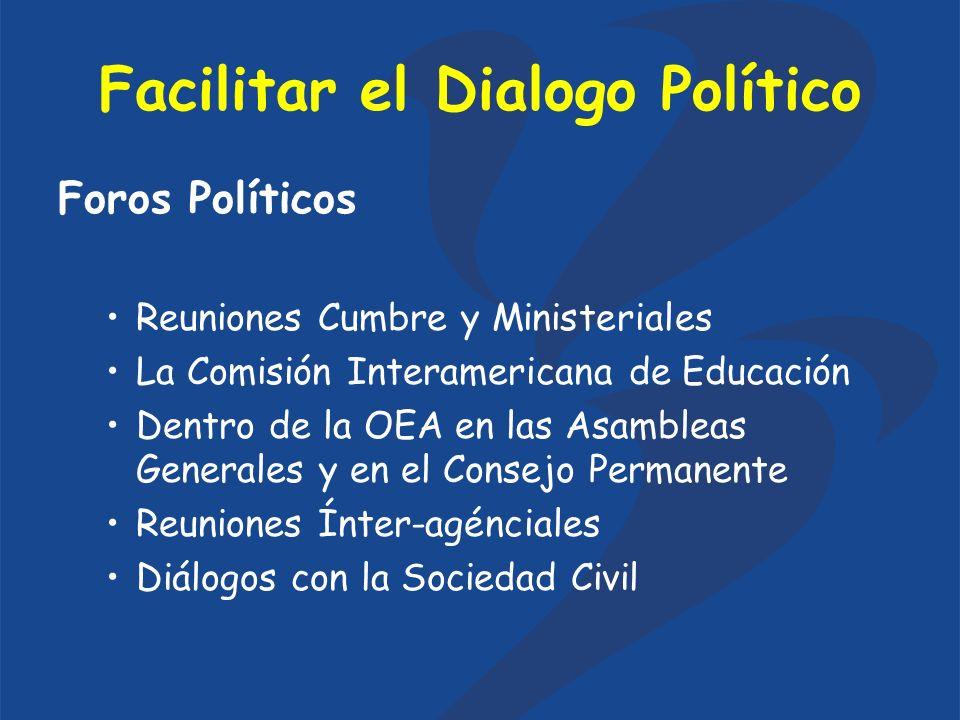 Facilitar el Dialogo Político Foros Políticos Reuniones Cumbre y Ministeriales La Comisión Interamericana de Educación Dentro de la OEA en las Asambleas Generales y en el Consejo Permanente Reuniones Ínter-agénciales Diálogos con la Sociedad Civil
