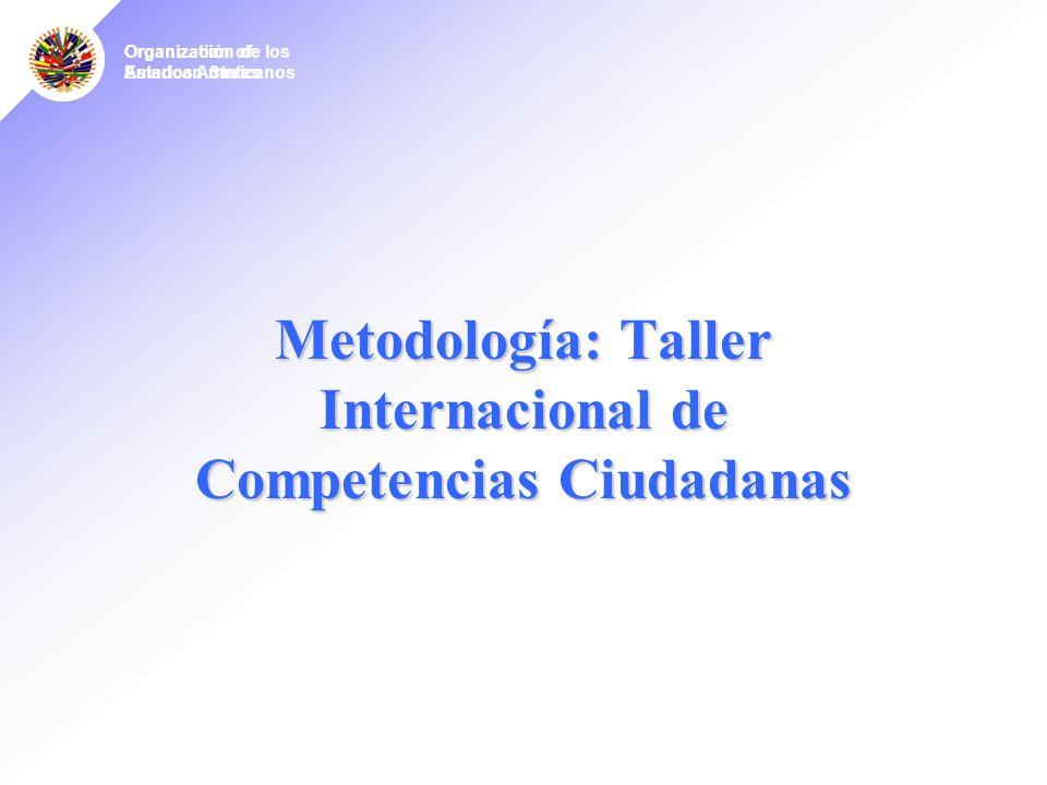 Organization of American States Organízación de los Estados Americanos Metodología: Taller Internacional de Competencias Ciudadanas