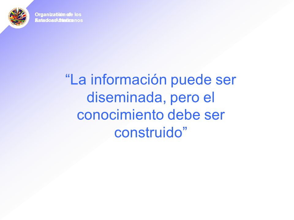 Organization of American States Organízación de los Estados Americanos La información puede ser diseminada, pero el conocimiento debe ser construido