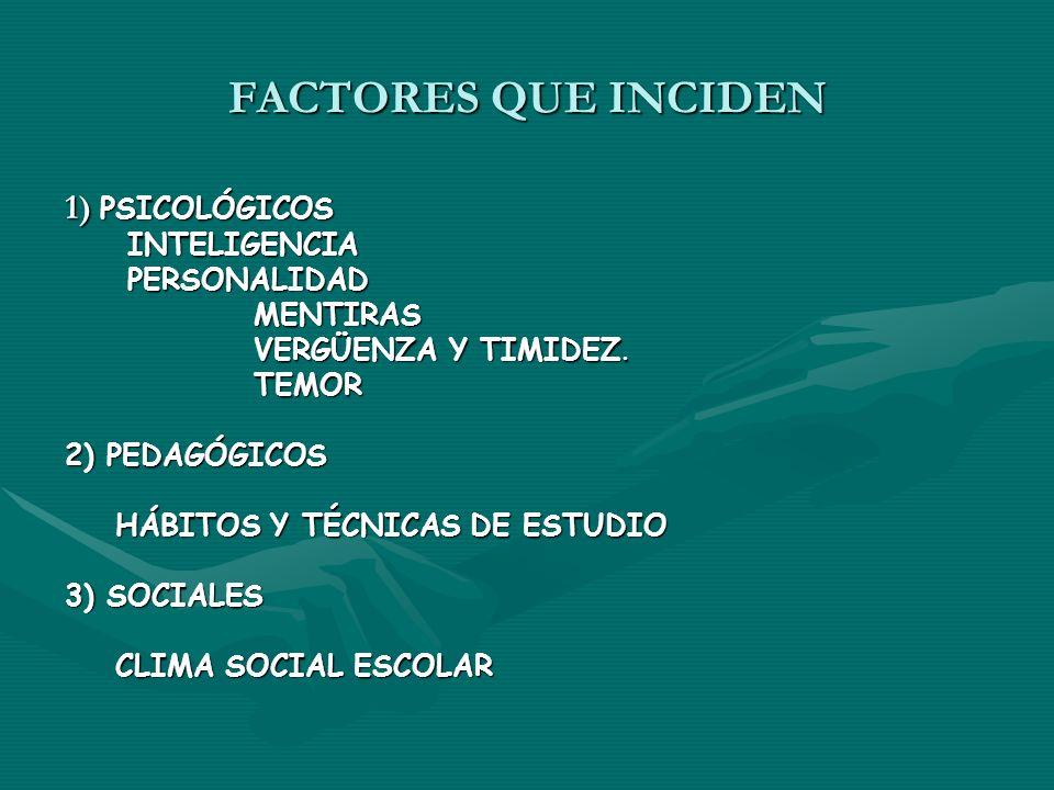 FACTORES QUE INCIDEN 1) PSICOLÓGICOS INTELIGENCIA INTELIGENCIA PERSONALIDAD PERSONALIDAD MENTIRAS MENTIRAS VERGÜENZA Y TIMIDEZ. VERGÜENZA Y TIMIDEZ. T