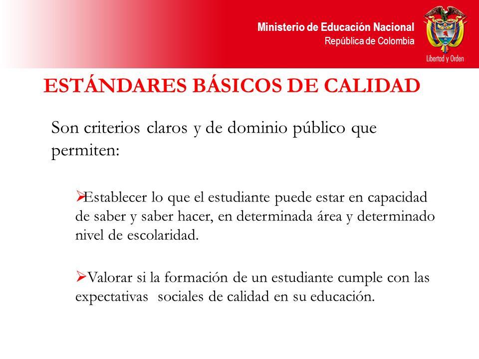 Ministerio de Educación Nacional República de Colombia ESTÁNDARES BÁSICOS DE CALIDAD Son criterios claros y de dominio público que permiten: Establece