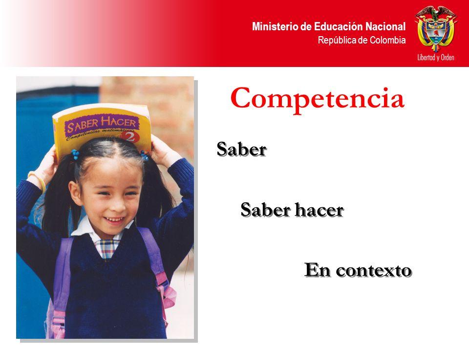 Ministerio de Educación Nacional República de Colombia Competencia Saber Saber hacer En contexto Saber Saber hacer En contexto