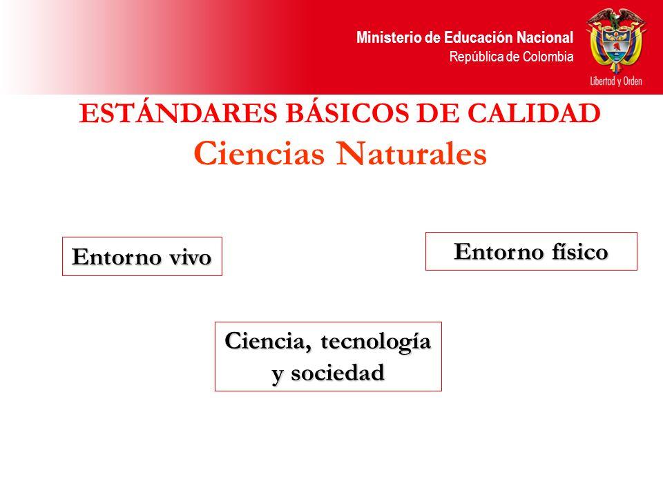 Ministerio de Educación Nacional República de Colombia Entorno vivo Ciencia, tecnología y sociedad Entorno físico ESTÁNDARES BÁSICOS DE CALIDAD Cienci
