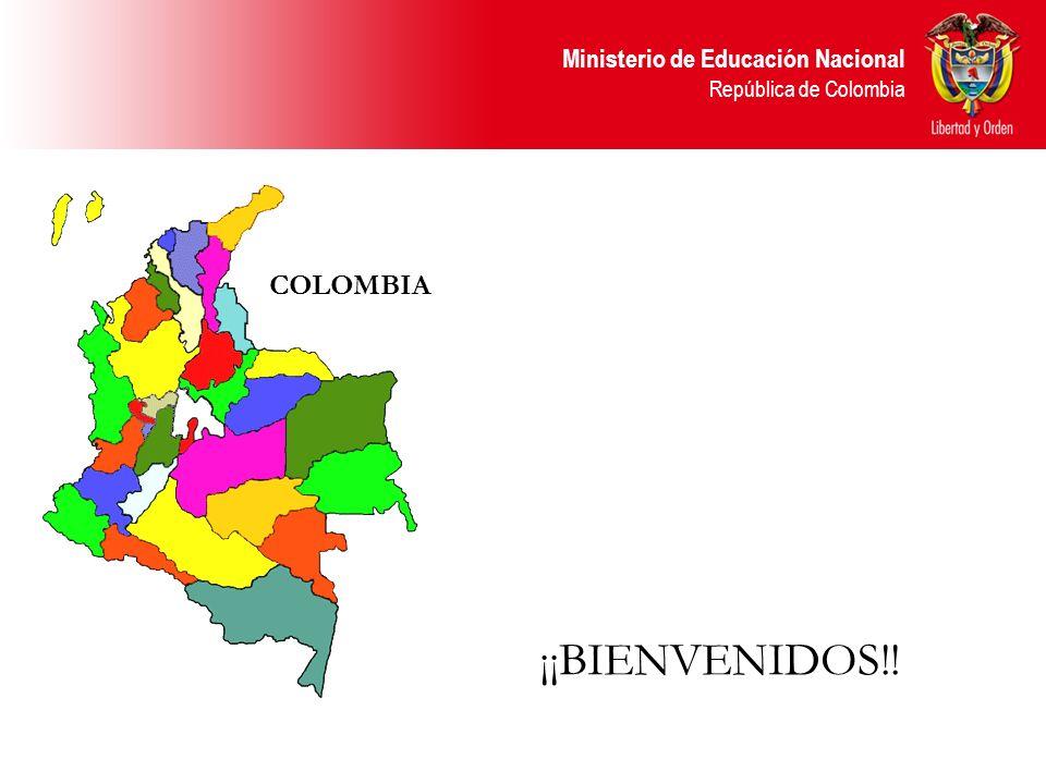Ministerio de Educación Nacional República de Colombia BÁSICA PRIMARIA Cinco grados MEDIA ACADÉMICA / TÉCNICA Dos grados BÁSICA SECUNDARIA Cuatro Grados PREESCOLAR Tres grados (uno obligatorio) SECRETARÍAS DE EDUCACIÓN: ADMINISTRAN LAS INSTITUCIONES DE EDUCACIÓN PREESCOLAR, BÁSICA Y MEDIA DE SU JURISDICCIÓN MINISTERIO DE EDUCACIÓN: REGULA Y VIGILA EL SERVICIO EDUCATIVO EN BASICA Y SUPERIOR.