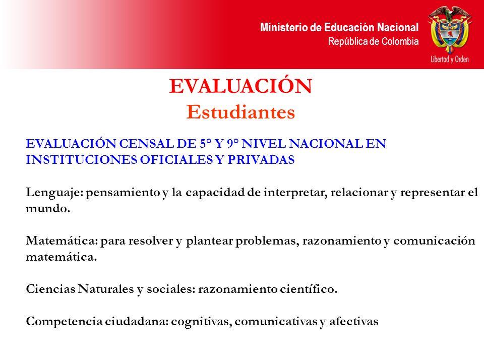 Ministerio de Educación Nacional República de Colombia EVALUACIÓN CENSAL DE 5° Y 9° NIVEL NACIONAL EN INSTITUCIONES OFICIALES Y PRIVADAS Lenguaje: pen
