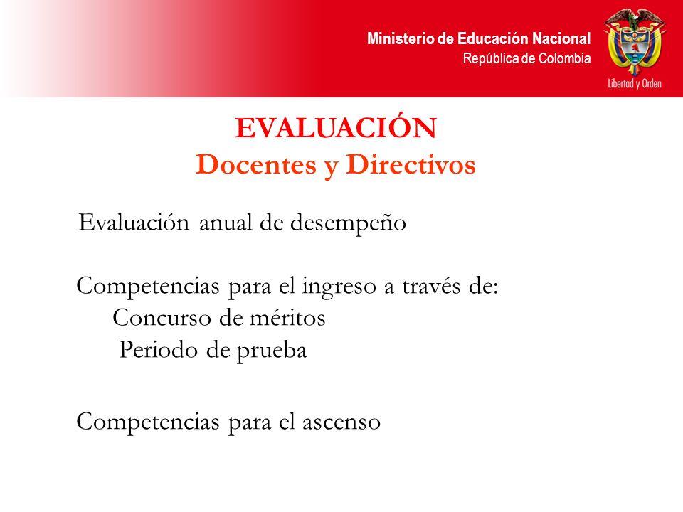 Ministerio de Educación Nacional República de Colombia Evaluación anual de desempeño Competencias para el ingreso a través de: Concurso de méritos Per