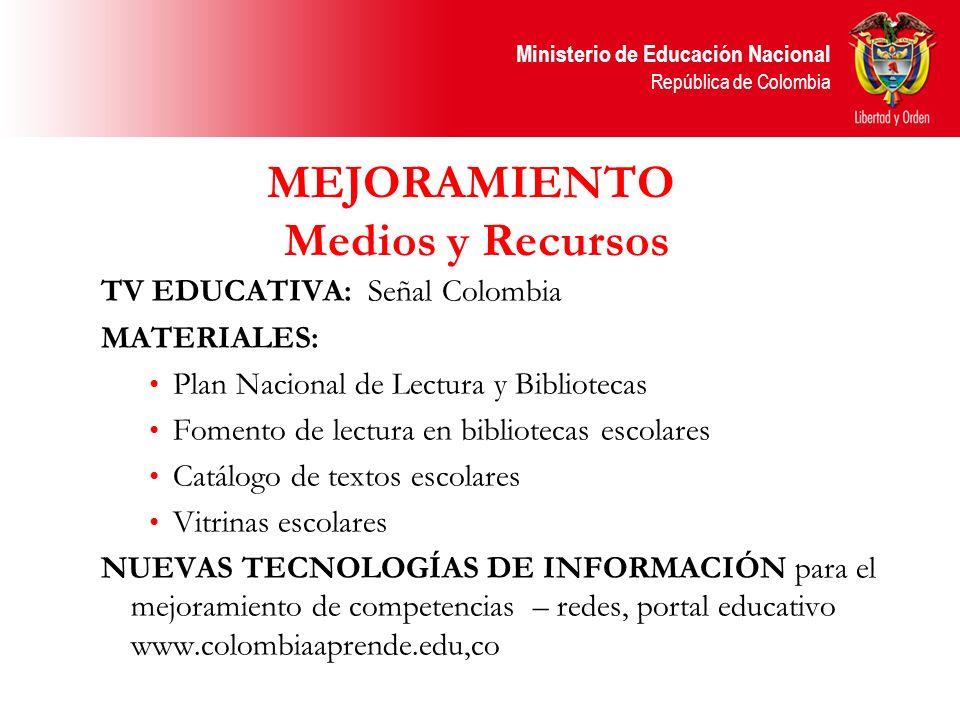 Ministerio de Educación Nacional República de Colombia MEJORAMIENTO Medios y Recursos TV EDUCATIVA: Señal Colombia MATERIALES: Plan Nacional de Lectur