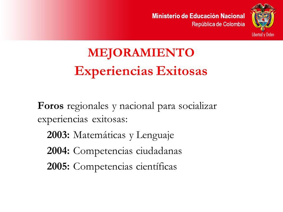 Ministerio de Educación Nacional República de Colombia MEJORAMIENTO Experiencias Exitosas Foros regionales y nacional para socializar experiencias exi