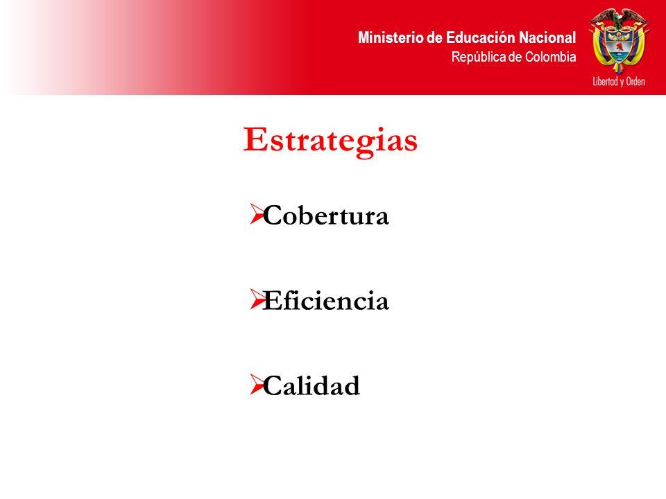 Ministerio de Educación Nacional República de Colombia Poner en marcha estrategias que favorezcan el acceso al sistema educativo a los niños y jóvenes y su permanencia, especialmente a los más vulnerables, a través de modelos educativos flexibles COBERTURA