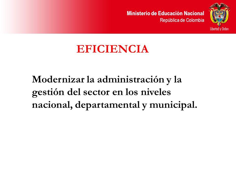 Ministerio de Educación Nacional República de Colombia Modernizar la administración y la gestión del sector en los niveles nacional, departamental y m