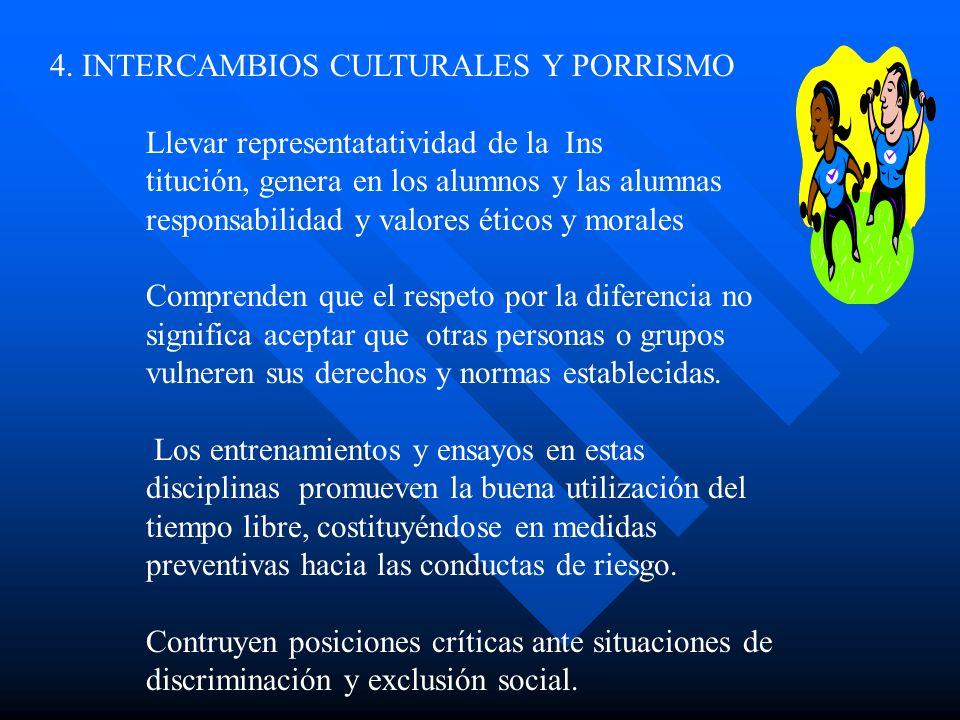 4. INTERCAMBIOS CULTURALES Y PORRISMO Llevar representatatividad de la Ins titución, genera en los alumnos y las alumnas responsabilidad y valores éti