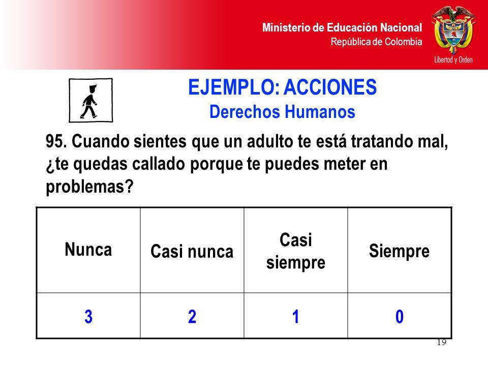 Ministerio de Educación Nacional República de Colombia 19 Nunca Casi nunca Casi siempre Siempre 3210 95. Cuando sientes que un adulto te está tratando