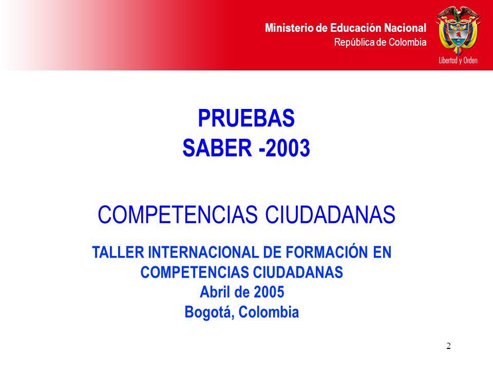 Ministerio de Educación Nacional República de Colombia 2 PRUEBAS SABER -2003 COMPETENCIAS CIUDADANAS TALLER INTERNACIONAL DE FORMACIÓN EN COMPETENCIAS