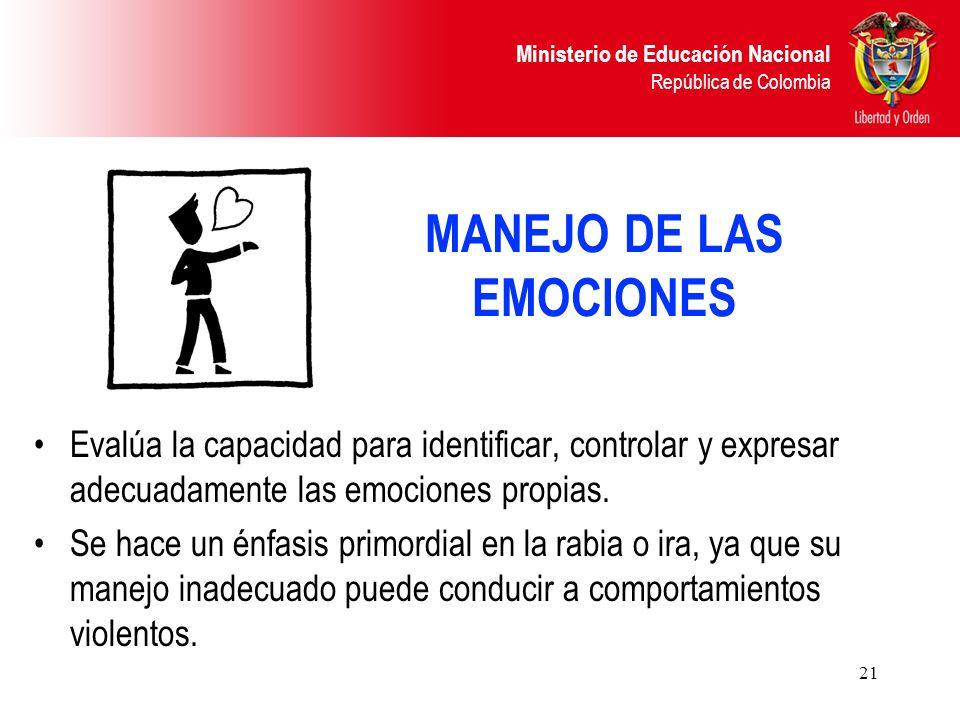 Ministerio de Educación Nacional República de Colombia 21 MANEJO DE LAS EMOCIONES Evalúa la capacidad para identificar, controlar y expresar adecuadam
