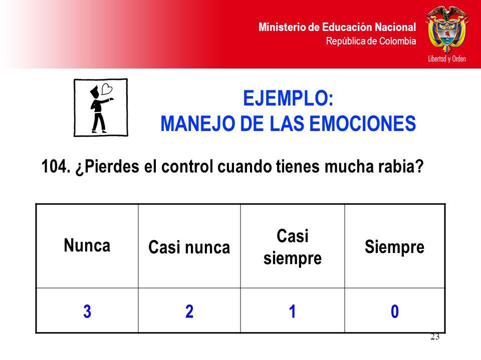 Ministerio de Educación Nacional República de Colombia 23 EJEMPLO: MANEJO DE LAS EMOCIONES 104. ¿Pierdes el control cuando tienes mucha rabia? Nunca C