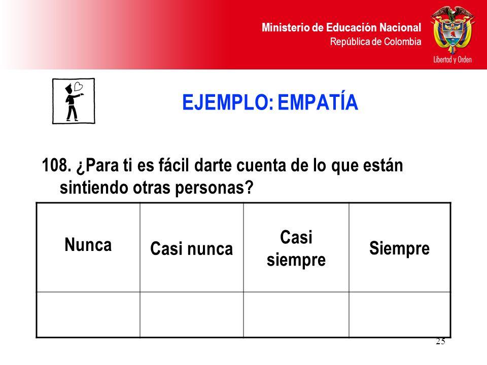Ministerio de Educación Nacional República de Colombia 25 EJEMPLO: EMPATÍA 108. ¿Para ti es fácil darte cuenta de lo que están sintiendo otras persona