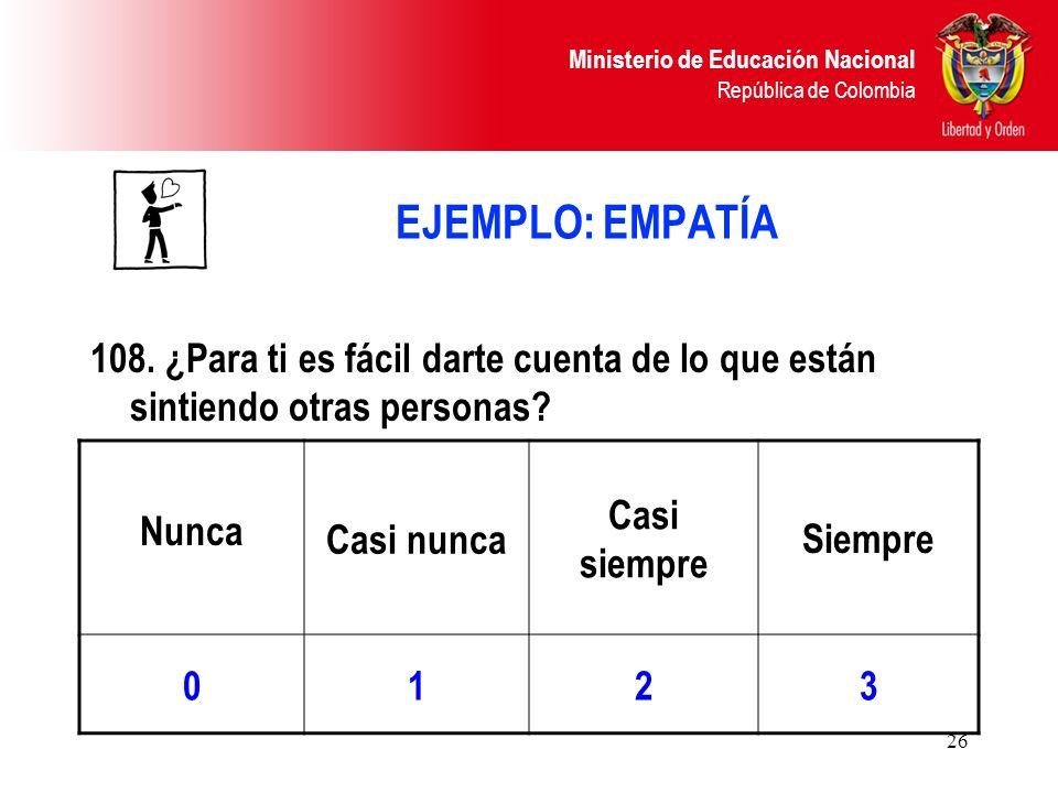 Ministerio de Educación Nacional República de Colombia 26 EJEMPLO: EMPATÍA 108. ¿Para ti es fácil darte cuenta de lo que están sintiendo otras persona