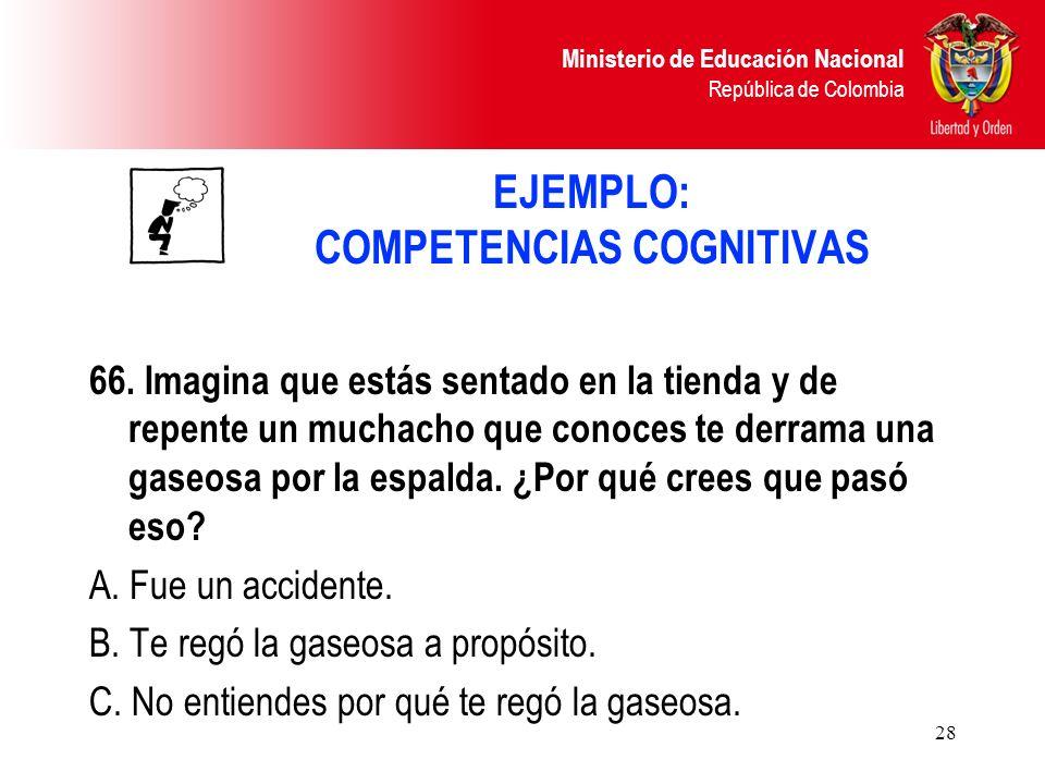 Ministerio de Educación Nacional República de Colombia 28 EJEMPLO: COMPETENCIAS COGNITIVAS 66. Imagina que estás sentado en la tienda y de repente un