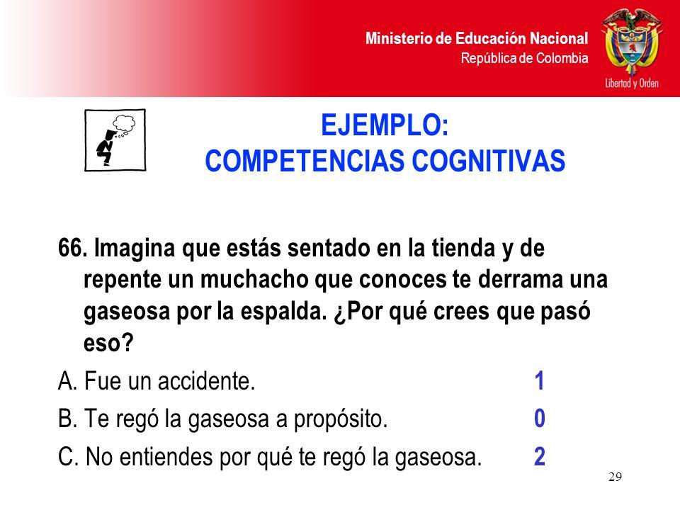 Ministerio de Educación Nacional República de Colombia 29 EJEMPLO: COMPETENCIAS COGNITIVAS 66. Imagina que estás sentado en la tienda y de repente un