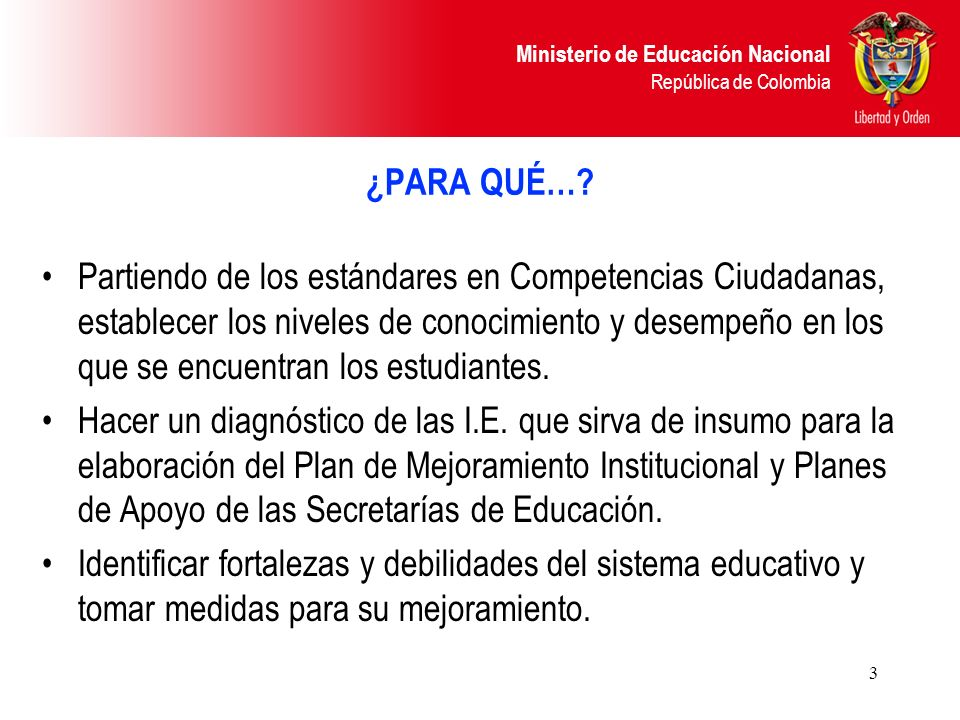 Ministerio de Educación Nacional República de Colombia 3 ¿PARA QUÉ…? Partiendo de los estándares en Competencias Ciudadanas, establecer los niveles de