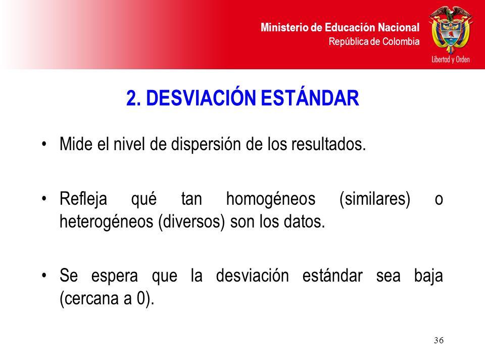 Ministerio de Educación Nacional República de Colombia 36 2. DESVIACIÓN ESTÁNDAR Mide el nivel de dispersión de los resultados. Refleja qué tan homogé
