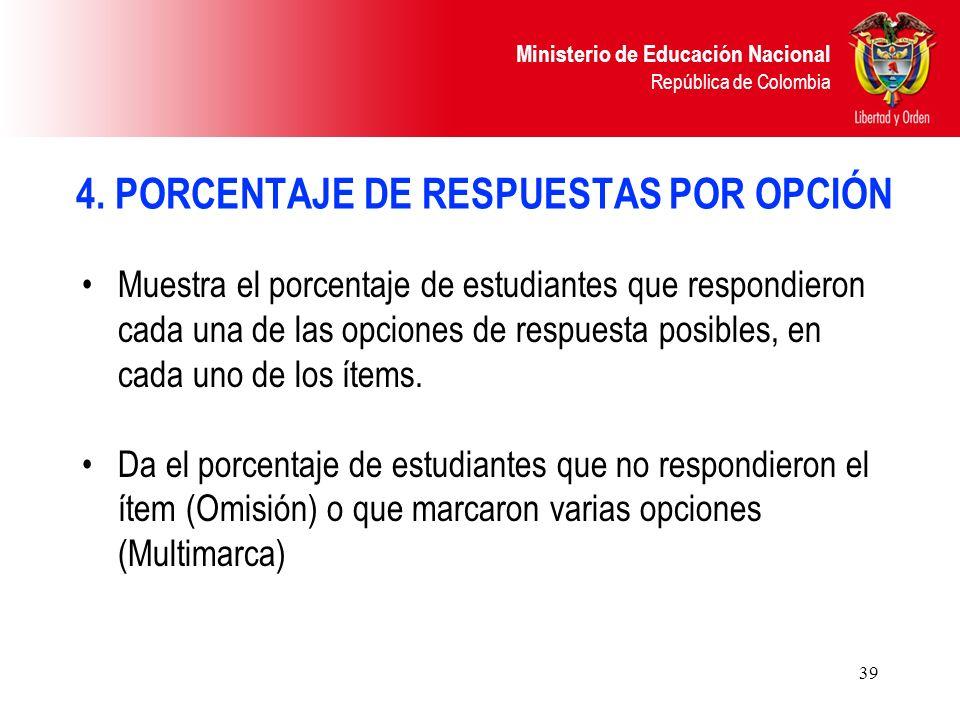 Ministerio de Educación Nacional República de Colombia 39 Muestra el porcentaje de estudiantes que respondieron cada una de las opciones de respuesta