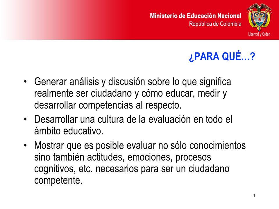 Ministerio de Educación Nacional República de Colombia 4 ¿PARA QUÉ…? Generar análisis y discusión sobre lo que significa realmente ser ciudadano y cóm