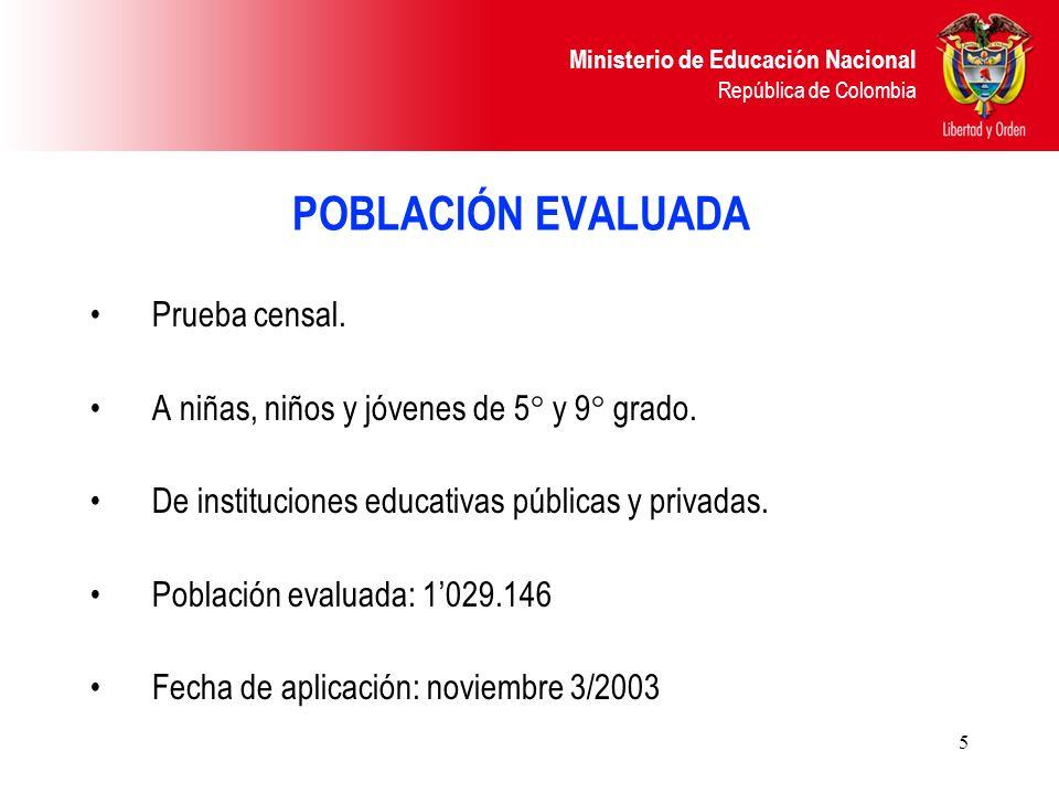 Ministerio de Educación Nacional República de Colombia 5 POBLACIÓN EVALUADA Prueba censal. A niñas, niños y jóvenes de 5° y 9° grado. De instituciones