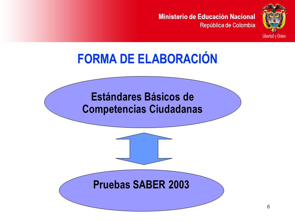 Ministerio de Educación Nacional República de Colombia 6 FORMA DE ELABORACIÓN Estándares Básicos de Competencias Ciudadanas Pruebas SABER 2003