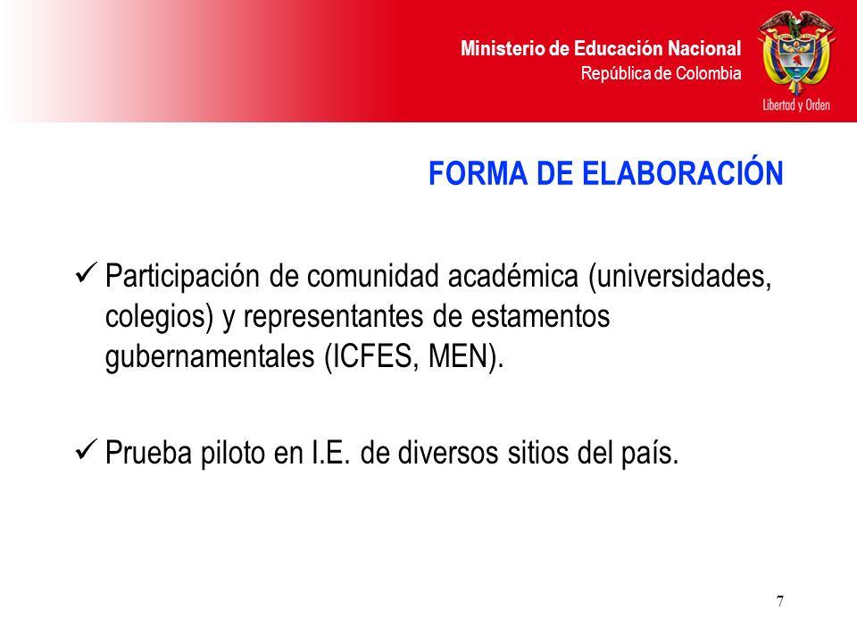 Ministerio de Educación Nacional República de Colombia 7 FORMA DE ELABORACIÓN Participación de comunidad académica (universidades, colegios) y represe