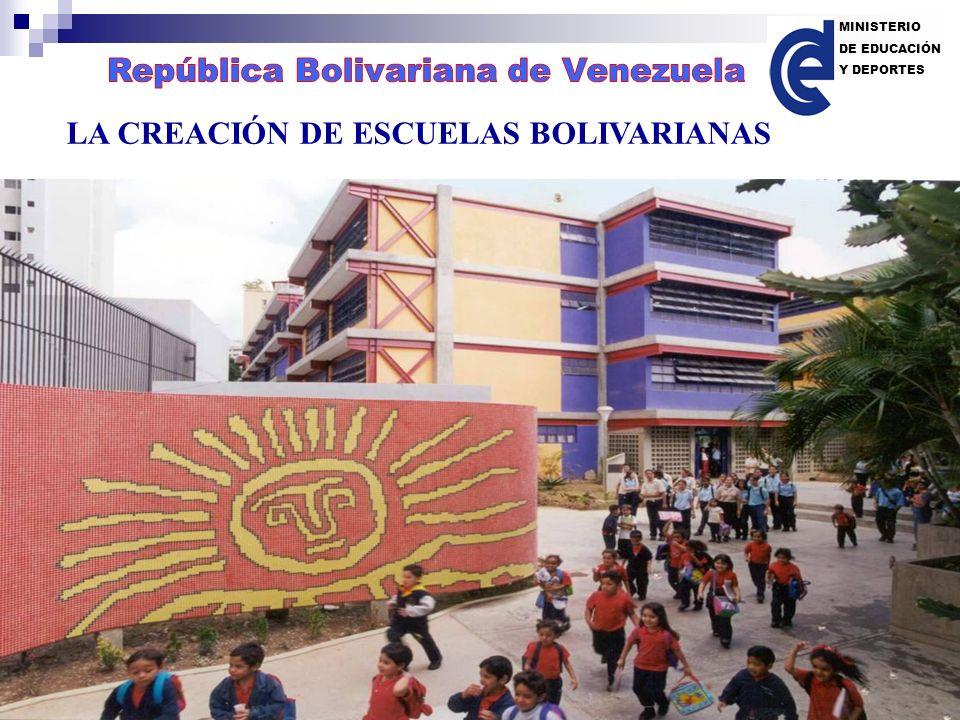 LA CREACIÓN DE ESCUELAS BOLIVARIANAS MINISTERIO DE EDUCACIÓN Y DEPORTES