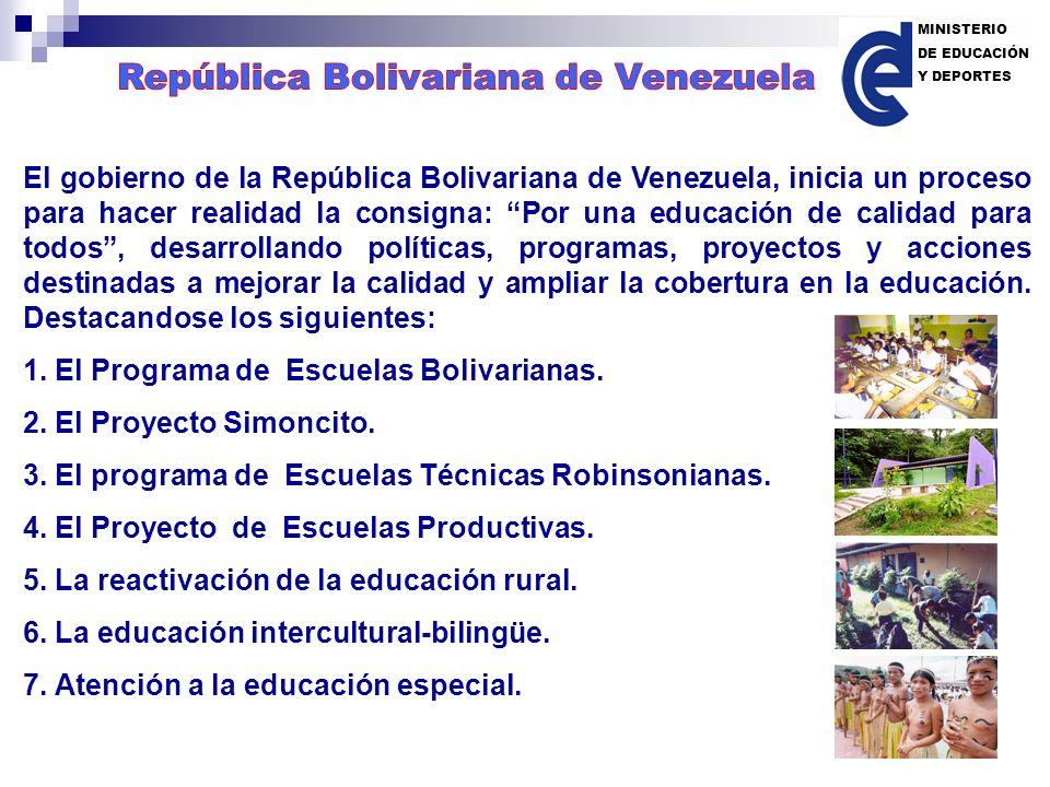 El gobierno de la República Bolivariana de Venezuela, inicia un proceso para hacer realidad la consigna: Por una educación de calidad para todos, desa