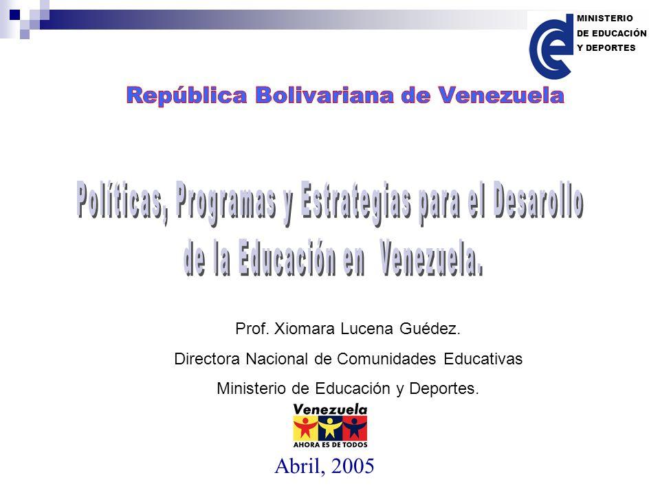 Fuente: Memoria y Cuenta del Ministerio de Educación y Deportes de la República Bolivariana de Venezuela MINISTERIO DE EDUCACIÓN Y DEPORTES